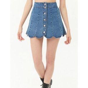 NWT Forever 21 Scalloped Denim Skirt